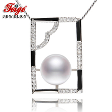 New arrival Womens 925 Silver Pearl Pendant Necklaces 8-9mm White Natural Freshwater Pearls Fine Jewelry