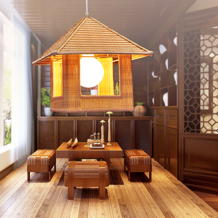 Bamboo new Chinese simple small house restaurant balcony lamp warm bird cage noodle restaurant pendant lights ZH bamboo bedroom pendant lights balcony