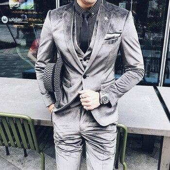 Men Dress 3 Piece set Asia size S M L XL XXL XXXL Slim Design Men Blazer with Pants and Vest Corduroy Fabric mens suits Blazer