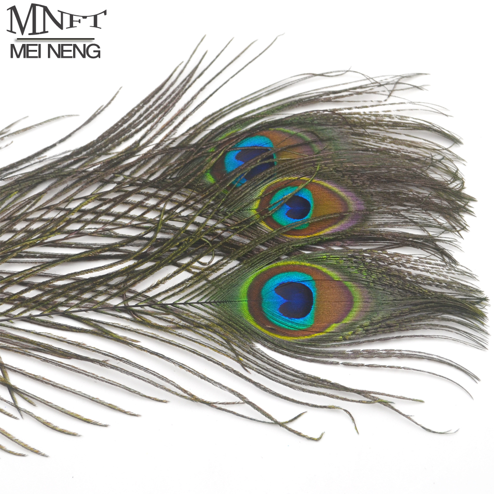 20Pcs Natural Peacock Tail Eye Hair for Fly Tying Streamer Slamon Flies Olive Peacock Feather Fly Fishing Lure Bait DIY Material