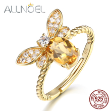 ALLNOEL Fine Jewelry Rings 925 Sterling Silver Natural Gemstone  Citrine Bee Engagement  Ring Set Wedding Silver Custom Jewellry leige jewelry natural citrine ring pear cut engagement wedding rings yellow gemstone for women 925 sterling silver fine jewelry
