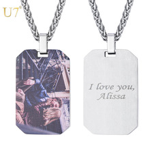 U7 Stainless Steel Custom Engraved Necklace Text Engraving Blank Dog Tag Pendant Necklace Personalized Name Photo Jewelry P1243 цены онлайн