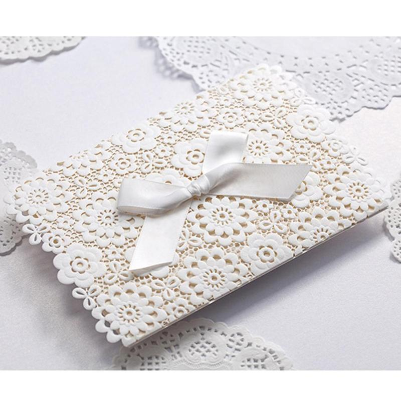 5Pcs/lot Laser Cut Lace Wedding Invitation Cards Delicate Flower Carved With Butterfly Ribbon Invitation Card Party Supplies K3 50pcs gold red laser cut hollow flower marriage wedding invitation cards 3d card greeting cards postcard event party supplies