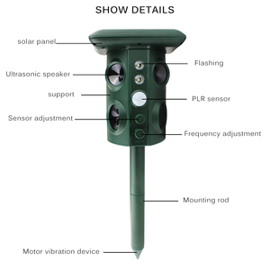 Image 5 - Solar Powered Animal Repeller Waterproof PIR Sensor Outdoor Garden Anti Cat Dog USB Ultrasonics Solar Alarm Drive Repeller