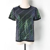 Fashion 2019 runway designer luxury embroidery letters sequins t shirt harajuku women knitted camiseta feminina tee tshirt femme