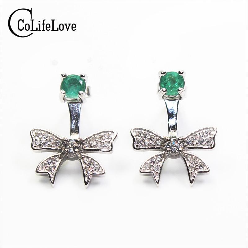 Romantic bowknot stud earrings 3mm natural emerald stud earrings solid 925 sterling silver gemstone earrings for