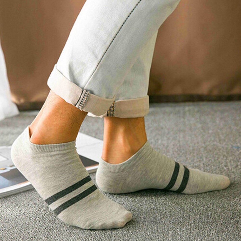 2018 Fashion New 1Pair Women And Men Comfortable Stripe Cotton Sock Slippers Short  Ankle Socks calcetines hombre