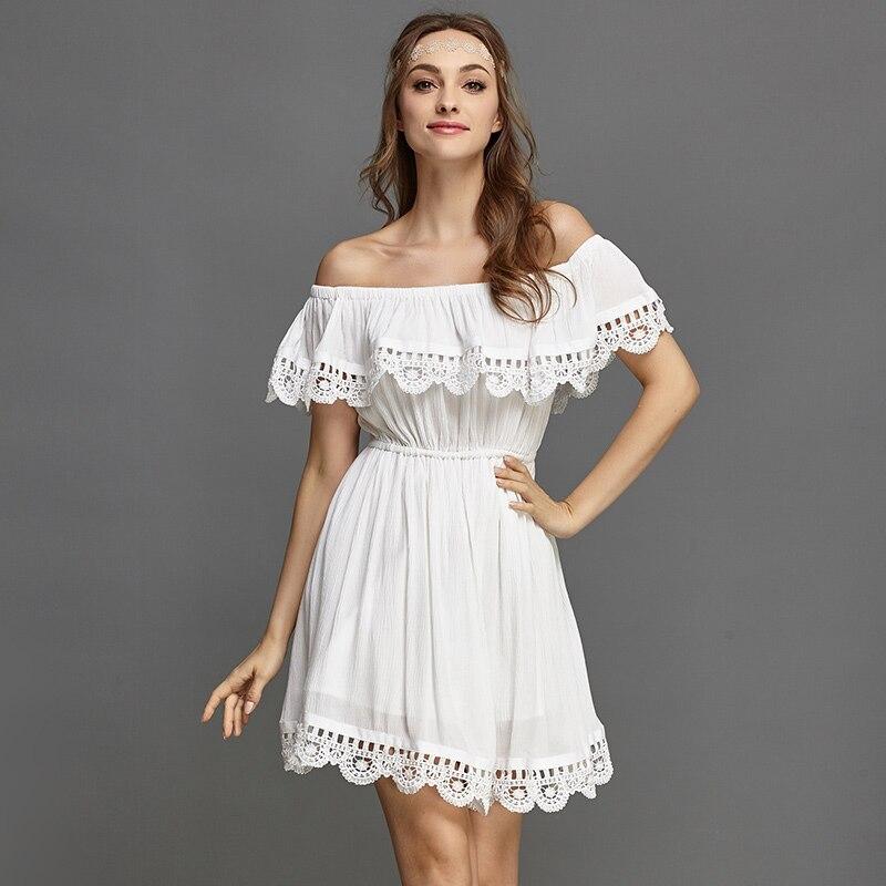 Fashion women Elegant Vintage sweet lace white Dress stylish sexy slash neck casual slim beach Summer Sundress vestidos