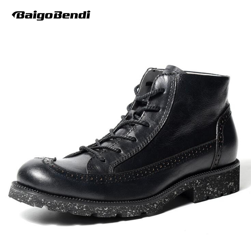Men Retro Boots Lace Up Wing Tips Brogue Shoes Carved Martin Boots Business Man Pure Black Round Toe Casual Shoes brogue boots two tone