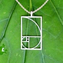 Drop shipping Fibonacci Golden ratio pendant Black /Silver plated necklaces & pendants jewelry accessories for women