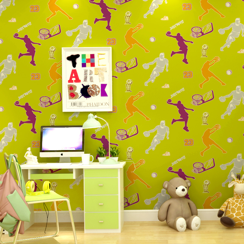 Basketball Wallpaper for Walls 3D Cartoon Non-woven Mural Wall Paper Roll for Kids Boy Bedroom Wallcovering papel de parede wood wall wallpaper birch tree pattern non woven woods wallpaper roll modern designer wallcovering simple papel de parede 3d