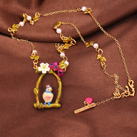 Les Nereides Gander Style Bird Branch Cute Small Flower Bead Embellish Pendant Necklace Simple Elegant Romantic