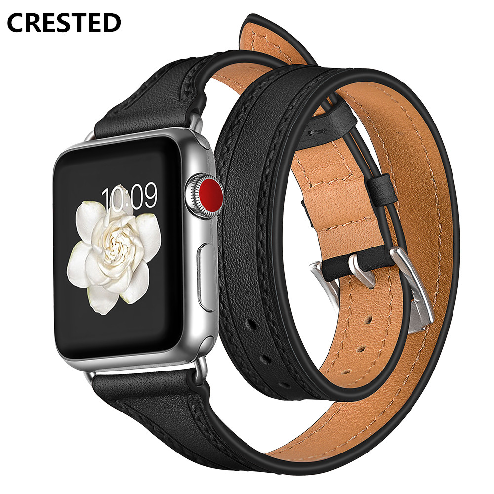 CRESTED Genuine Leather strap For Apple watch Series 4 band 44mm/40mm iWatch 3 2 1 42mm 38mm Double Tour Wrist Bracelet belt цена