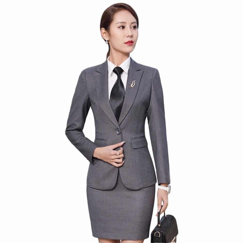 3246b4833aab Trajes de negocios para mujer Oficina uniforme diseños mujer elegante  Oficina señora falda trajes dos piezas conjunto para el trabajo mini falda  ...