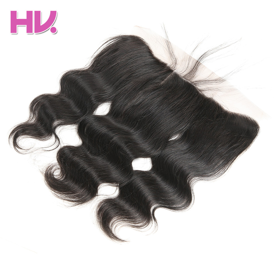 Hair Villa Pre plucked Peruvian Body Wave Lace Frontal Closure 13*4 Ear to Ear Remy Human Hair Free Part Lace Frontal Closure