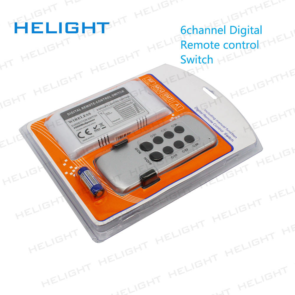 6 Channel On Off 220v Wireless Remote Control Switch Digital For Lamp