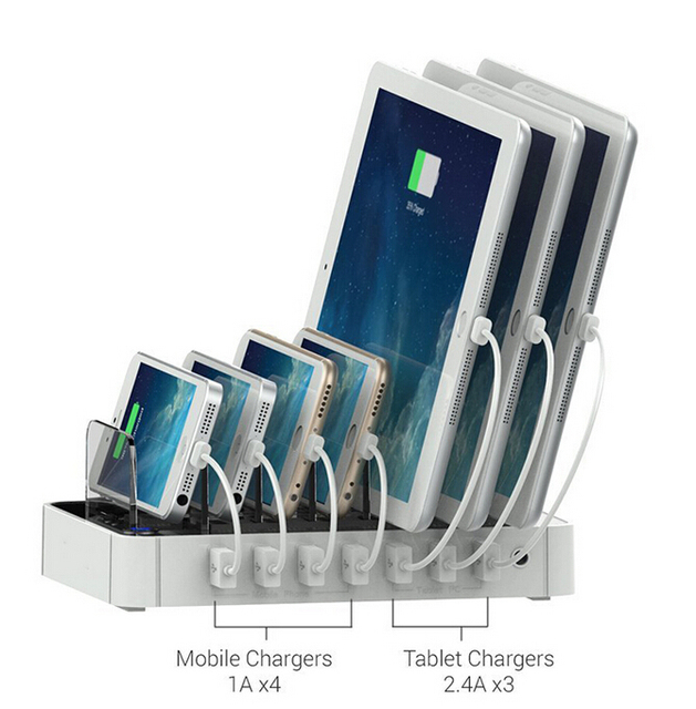 New Portable 7 Port Multi Usb Charger Station Adapter For Iphone Android Mobile Phone Tablet
