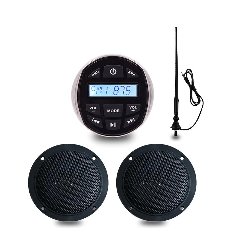 Marine Stereo Boat Audio Bluetooth Radio FM AM USB MP3 Player for Motorcycle Auto ATV UTV +4