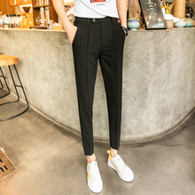 Men's trousers 2019 summer new non-elastic solid color small feet casual nine-minute trousers loose fashion youth men's wear