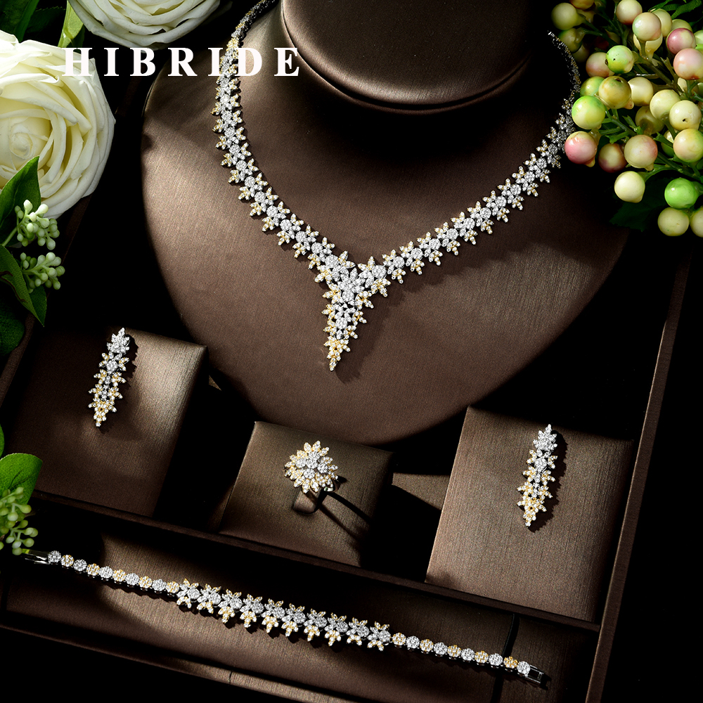 HIBRIDE High Quality Leaf Shape Wedding Jewelry Set Sparkling Zirconia Bridal Accessory Hot-sale 4PCS Set for Lady Marry N-1025