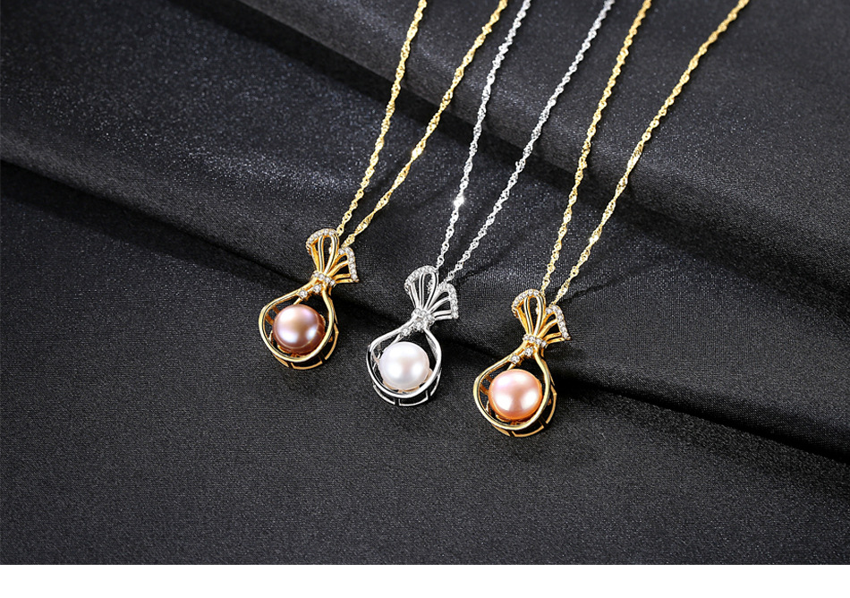 Freshwater Pearl Necklace S925 Sterling Silver Water Wave Chain Fashion Lady Pearl Jewelry Necklace Accessories CS06