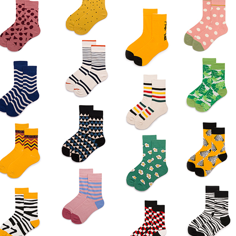 1 pair Women   Socks   Cotton Crew Lovers   Socks   Pink Green Yellow Colorful Funny Animal Cartoon Casual Dots in tube   Sock   Men   socks