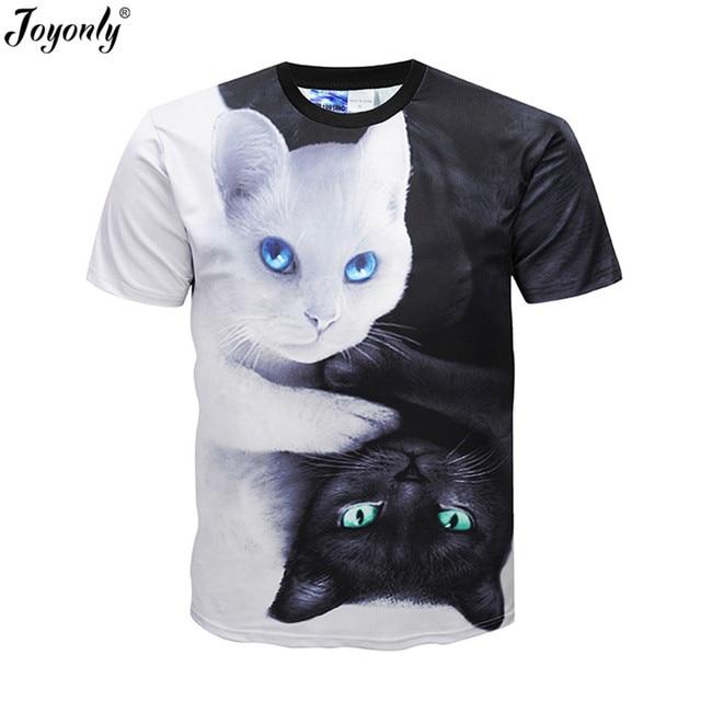 Joyonly 2018 verano niños niñas 3D camiseta encantadora del gato negro  blanco Yin Yang Harajuku diseño 56e9efdf7e2e6