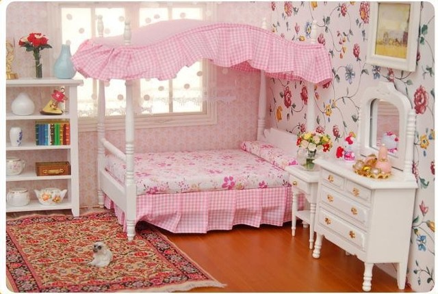 Delightful 1:12 Dollhouse Miniature Bedroom Furniture CANOPY Bed Dresser Bedside  Cabinet 3pcs