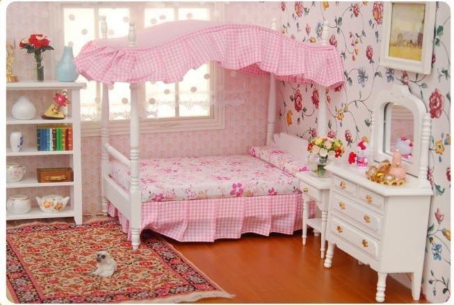 1:12 Dollhouse Miniature Mobili Camera Da Letto A BALDACCHINO Comò ...
