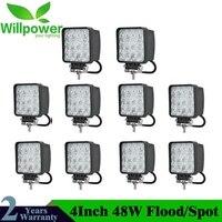 10pcs 4inch 48W LED Work Light Lamp For Car 4x4 ATV LED Working Lights Truck 12V Driving Fog Spotlights Tractor Offroad lights