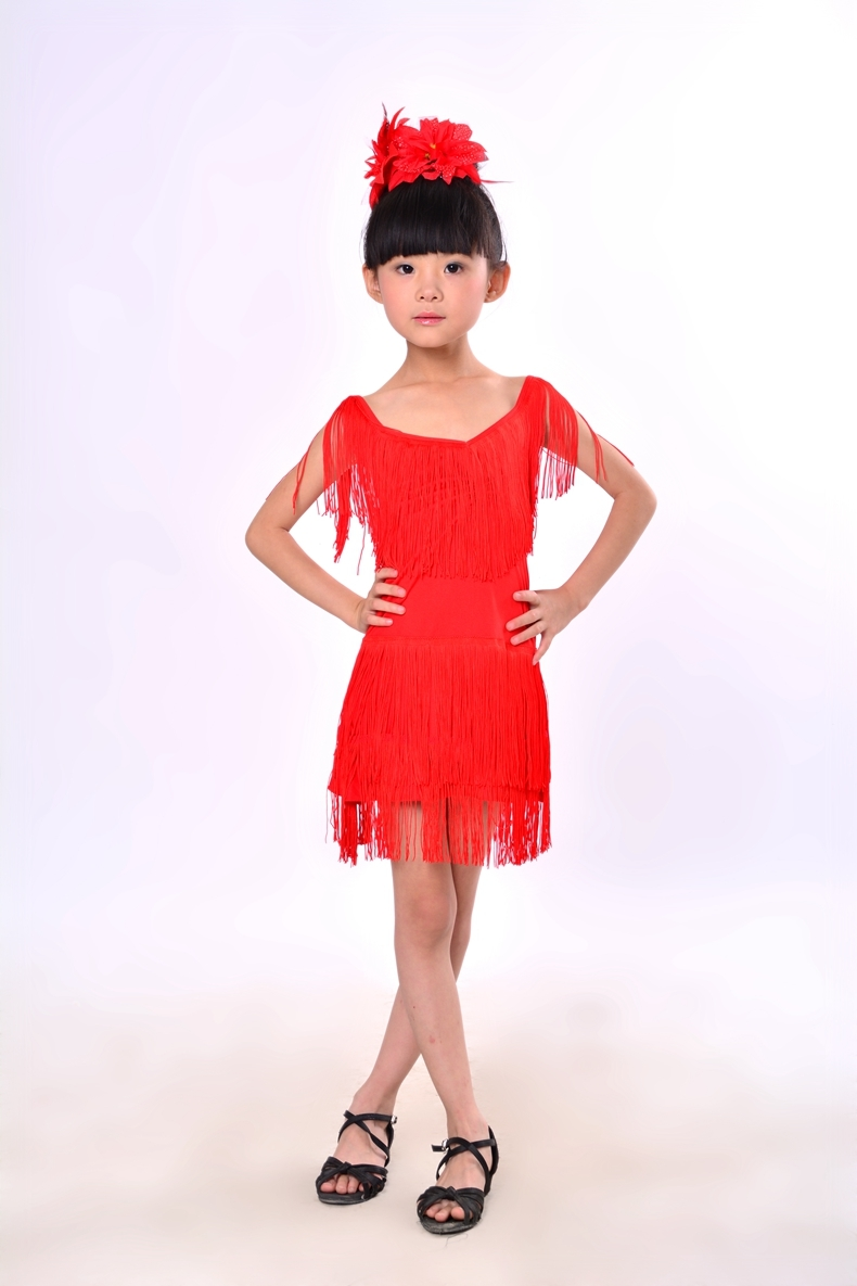 eb34c0072bf0 NEW Child Girls Kids Cheap Sexy Black Blue Red Pink Sequin Fringe ...