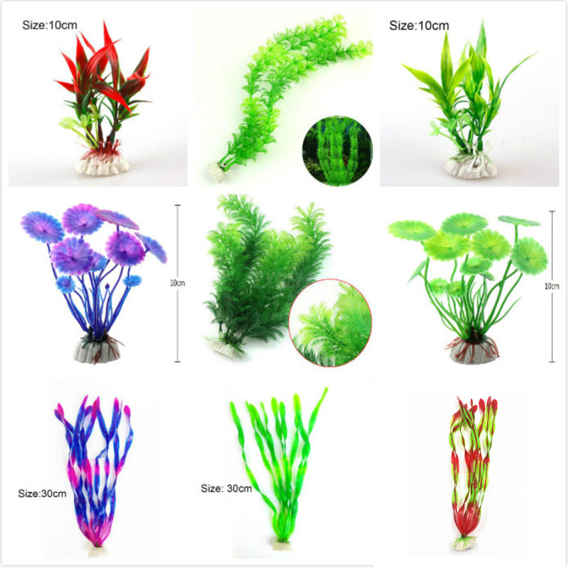 Artificial Aquarium Plant Decoration Fish Tank Submersible Flower Grass Ornament Decor For Aquarium Underwater Plant 10-30cm 1
