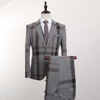 FOLOBE Fashion Grey Plaid 3 PCS Mens Suits Wedding Groom Plus Size Slim Fit Casual Tuxedos Formal Business Suit Male