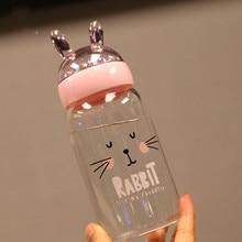Cartoon Portable Glass Water Bottle Cute Stars Sequins Micro Landscape Glass Children Water Bottle 360ML Brief Women Drinkware