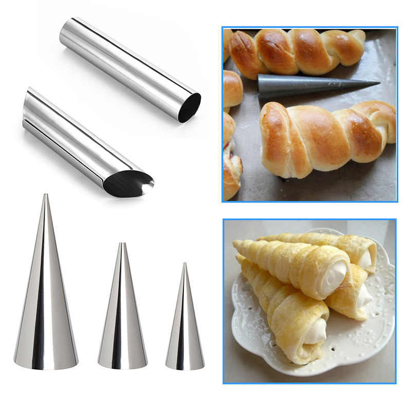 Horn Baking Tools Pastry Cream Popular Cone Roll Moulds Conical Tube Spiral Croissants Molds Bread Mold Cake 1PC Stainless Steel