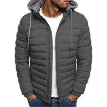 ZOGAA для мужчин зимние парки куртка Модные однотонные пальто с капюшоном куртки на молнии хлопок повседневное теплая одежда пальт