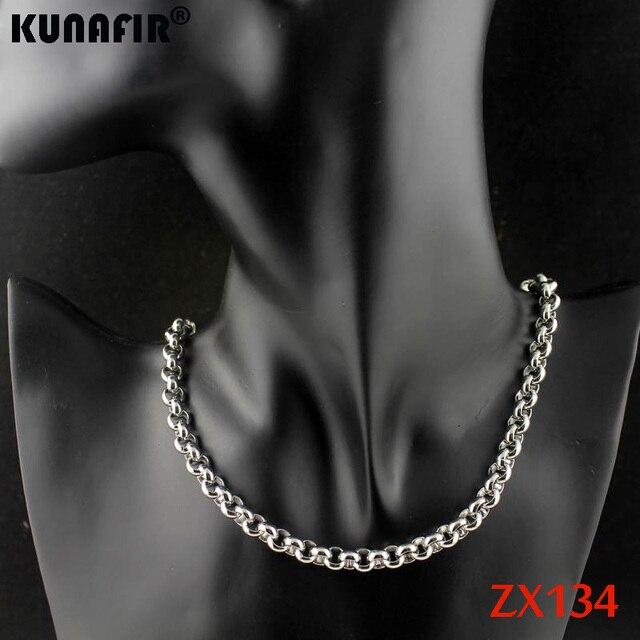 """18 """"-38"""" długość 7mm duży okrągły rolo link chain 316L ze stali nierdzewnej naszyjnik kobiety mężczyzna mody punk łańcuchy 12 sztuk ZX134"""