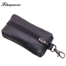 hot deal buy housekeeper genuine leather key wallet men keychain covers zipper car key case bag male key holder housekeeper keys organizer