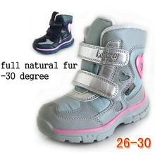 Русский Новые водонепроницаемые зимние ботинки теплые сапоги детская обувь сапоги для девочек натуральный мех Открытый загрузки