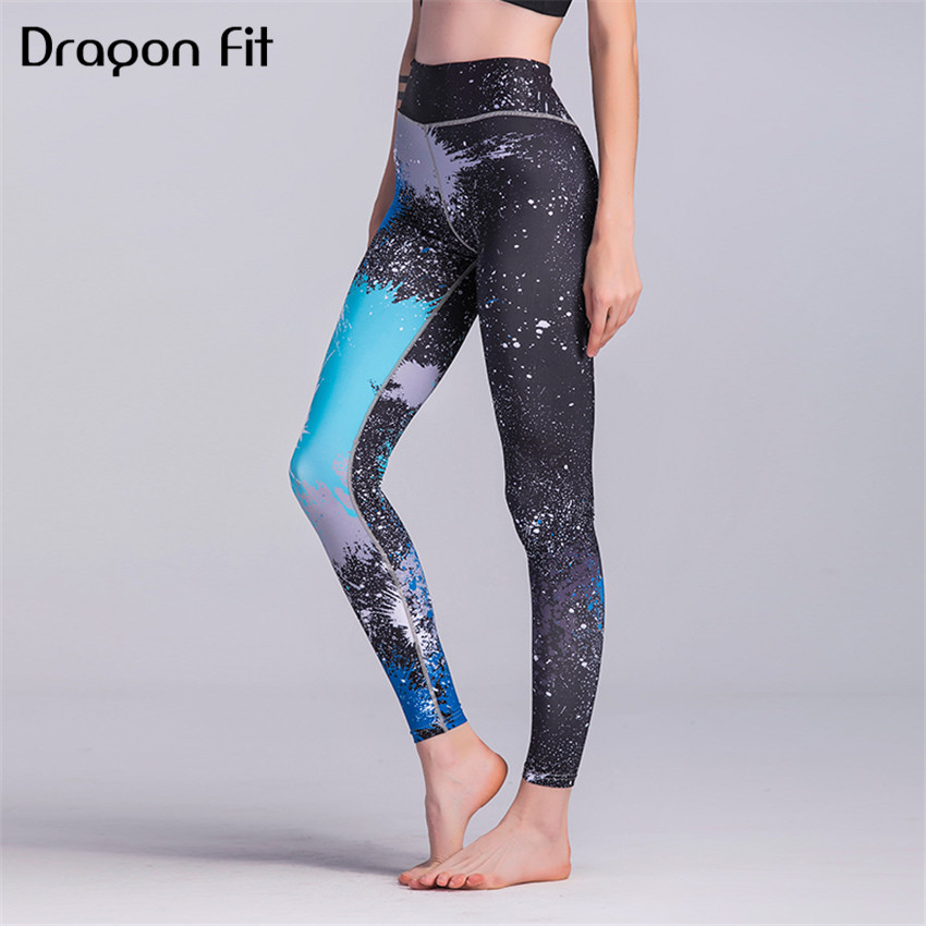 Dragon Fit Printed Bodycon Yoga Pants Women Breathable Leggings Running Workout Compression Quick Drying Leggings Female
