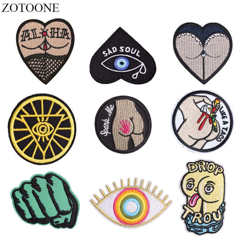 ZOTOONE Iron on <font><b>Sexy</b></font> Butt Patches for Clothing Applique Embroidery Eye Heart Patch Stickers on Clothes DIY Jacket Backpack image