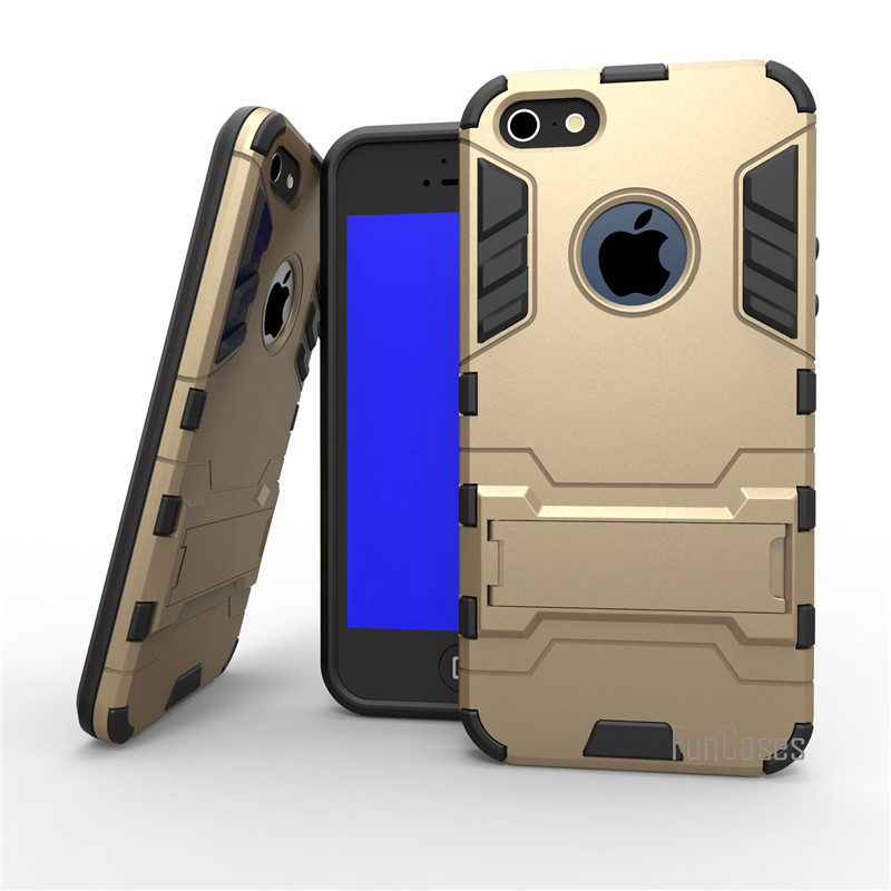 For Apple Iphone 5 5S SE Case Dual Layer Hybrid Rugged Armor Hard PC+TPU 2 In 1 Shockproof With Kickstand Cover Cases