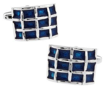 Classic matte plating effect gentleman blue small lattice cufflinks leisure business export quality