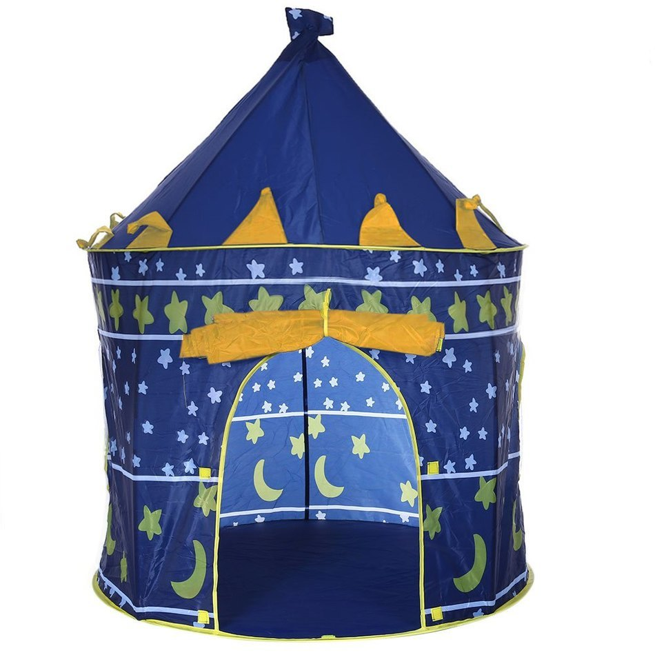 2 Colors Folding Tent Kids Children Boy Castle Cubby Play House Kids Gifts Outdoor Toy Tents Portable Foldable Play Tent Prince