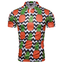 Fashion Pineapple Printed Polo Shirt Men Short Sleeve Stirped Summer Casual Polos Hombre 2019 Hawaii Style Tee Tops XXL