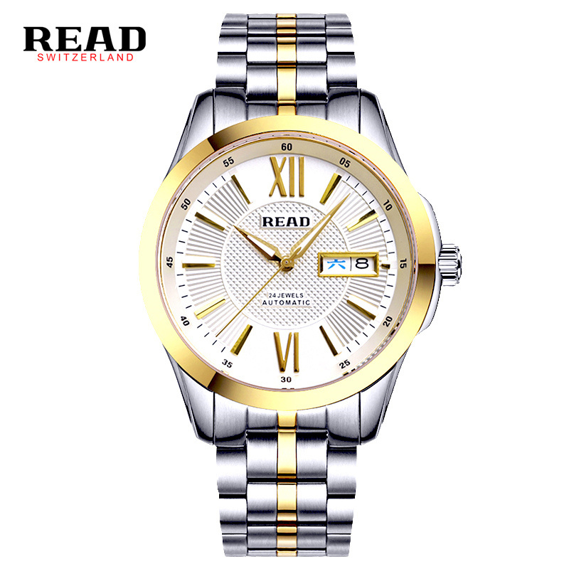 READ Brand Men's Fashion Business Automatic Watches Men Full Steel Waterproof Sport Watch Man Black Clock relogio masculino 8016 read luxury golden automatic mechanical watches men fashion watch for men wristwatch waterproof full steel relogio masculino new