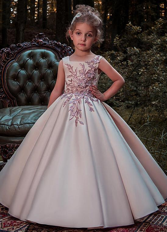 Ball Gown Flower Girl Dresses for Wedding With Lace Appliques 3D Flowers Beadings Girls Pageant Gown Any Size
