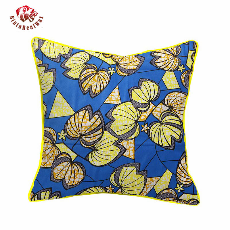 2018 African Wax Cotton Fabric Handmade Decorative Pillow Case Covers African Printed Cushion Case Cojines Home Arts WYS10