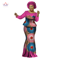 Africa Style Bazin Riche Dresses for Women Two Pieces Set Women Long Sleeve Tops and Long African Print Skirt Plus Size WY2454