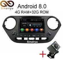 Sinairyu 4GB RAM Octa Core Android 8.0 Car DVD Player Navigation Fit HYUNDAI i10 2014 2015 2016 2017 GPS Radio Stereo Head Unit